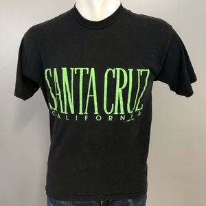 Vintage Santa Cruz California T Shirt XL Black 80s
